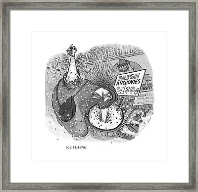 Ice Fishing Framed Print by Arnold Roth