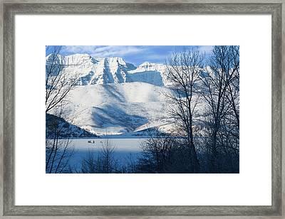 Ice Fishing On Deer Creek Reservoir Framed Print by Utah Images