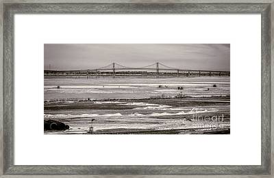 Ice Fishing On The Saint Lawrence River Framed Print by Patricia Trudell