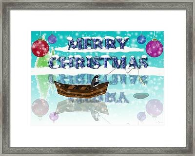 Ice Fishing Penguin Framed Print