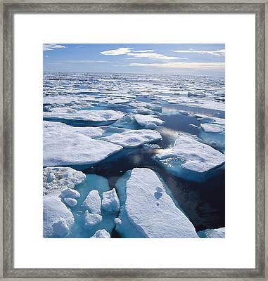 Ice Floes In Arctic Northwest Territories Framed Print by Konrad Wothe