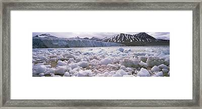Ice Floes In The Sea With A Glacier Framed Print