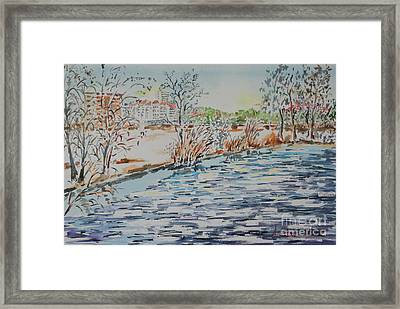 Framed Print featuring the painting Ice Floes On River Rednitz by Alfred Motzer