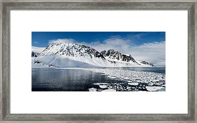Ice Floes On Water With A Mountain Framed Print by Panoramic Images