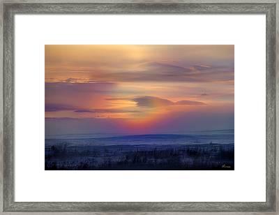 Ice Fog Sunrise Framed Print by Andrea Lawrence