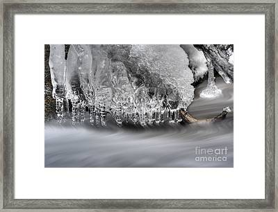 Ice Formation Above Stream Framed Print by Dan Friend