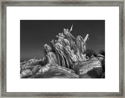 Ice Formation Black And White Framed Print by Daniel Behm