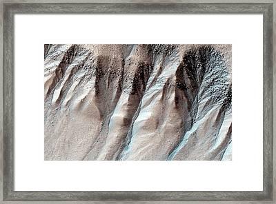 Ice-formed Gullies On Mars Framed Print by Nasa/jpl-caltech/university Of Arizona