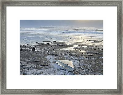 Ice On Fossil Beach Framed Print by Tim Grams