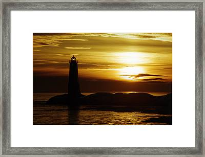Ice On The Breakwall Winter Sunset Framed Print