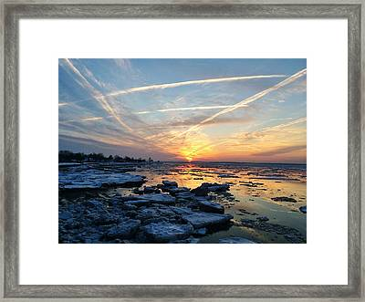 Ice On The Delaware River Framed Print