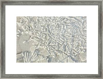Ice Patterns On A Flooded Field Framed Print by Ashley Cooper