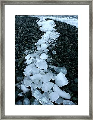 Framed Print featuring the photograph Ice Pebbles by Amanda Stadther