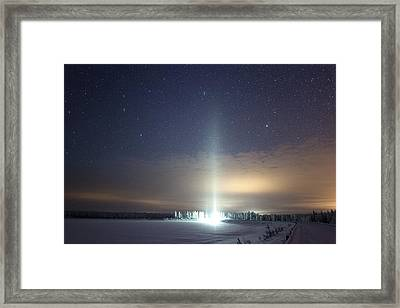 Ice Pillar In Night Sky Framed Print by Science Photo Library