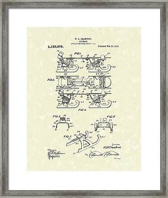 Ice Skate 1915 Patent Art Framed Print by Prior Art Design