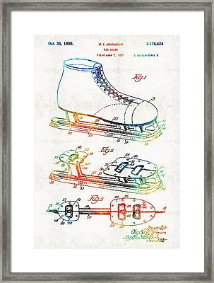Ice Skate Patent - Sharon Cummings Framed Print by Sharon Cummings