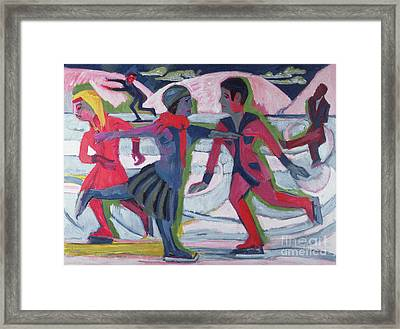 Ice Skaters  Framed Print by Ernst Ludwig Kirchner