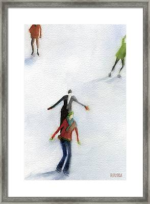 Ice Skaters Watercolor Painting Framed Print