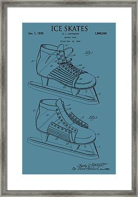 Ice Skates Patent On Blue Framed Print by Dan Sproul