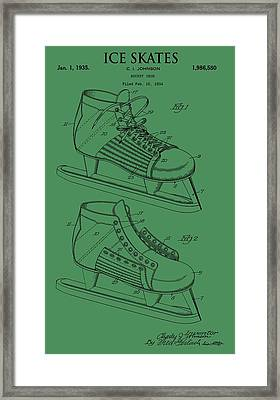 Ice Skates Patent On Green Framed Print by Dan Sproul