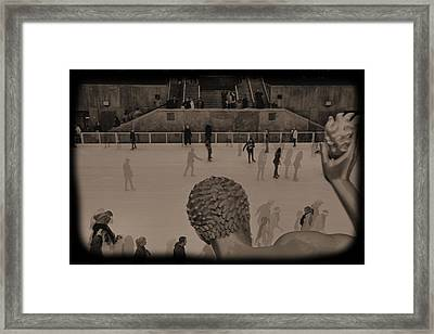 Ice Skating At Rockefeller Center In The Early Days Framed Print by Dan Sproul