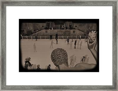 Ice Skating At Rockefeller Center In The Early Days Framed Print