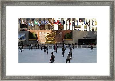Ice Skating In Rockefeller Center Framed Print by Dan Sproul