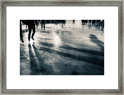 Ice Skating Framed Print by Lenny Carter