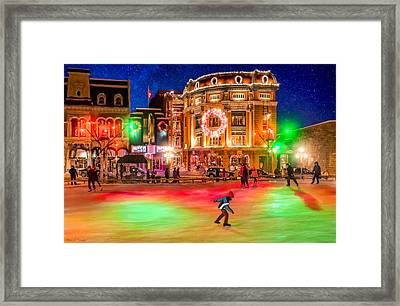 Ice Skating On A Beautiful Night In Quebec Framed Print