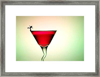 Ice Skating On A Cup Of Cocktail Drinking Little People On Food Framed Print