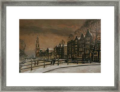 Ice Skating On The Prinsengracht Amsterdam Framed Print