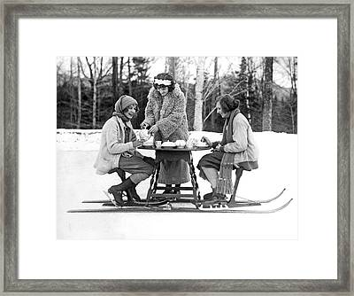 Ice Skating Tea Time Framed Print by Underwood Archives