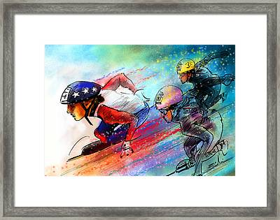 Ice Speed Skating 02 Framed Print by Miki De Goodaboom