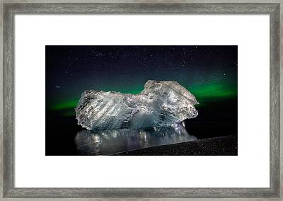 Ice With The Aurora Borealis. Ice Framed Print by Panoramic Images