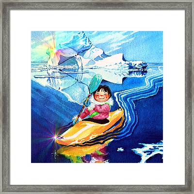Iceberg Kayaker Framed Print by Hanne Lore Koehler
