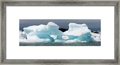 Icebergs And Volcanic Ash, Jokulsarlon Framed Print by Panoramic Images