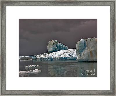 Icebergs Of Leconte Glacier Framed Print