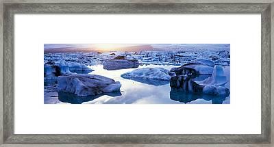 Icebergs On Jokulsarlon Lagoon Framed Print by Panoramic Images