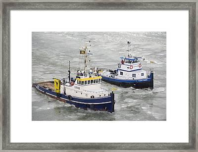 Icebreaker On Maardermeer, Lelystad Framed Print