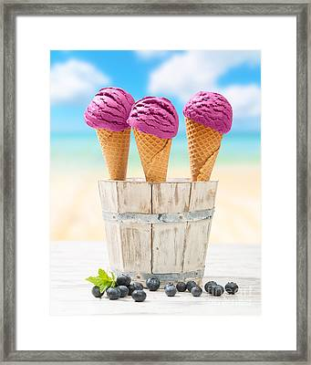 Icecreams With Blueberries Framed Print