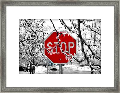 Iced Stop Sign Framed Print by Valentino Visentini