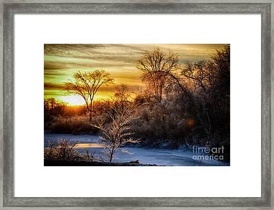 Iced Sunset Framed Print by Wanda Clowater