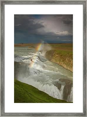 Iceland A Rainbow Arcs Over The Upper Framed Print by Jaynes Gallery