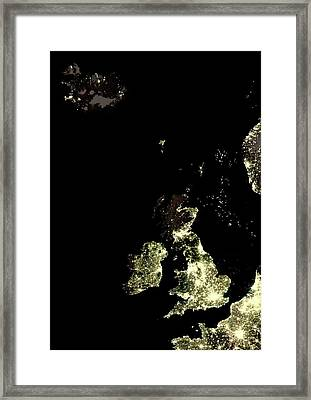 Iceland And British Isles At Night Framed Print