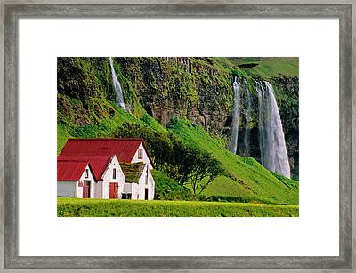 Iceland Farm Falls Framed Print by Dennis Cox WorldViews