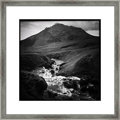 Iceland Landscape With River And Mountain Black And White Framed Print