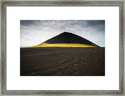 Iceland Minimalist Landscape Brown Black Yellow Framed Print