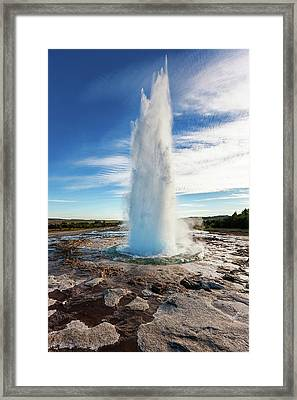 Iceland Strokkur Geyser Erupting Framed Print by Alexander Hafemann