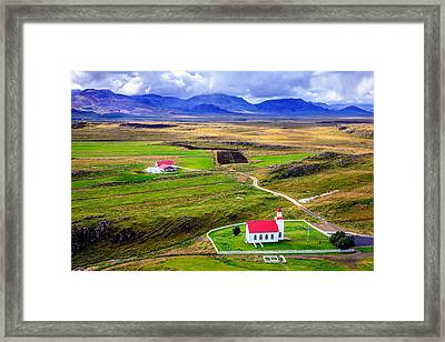 Icelandic Church And Farm Framed Print
