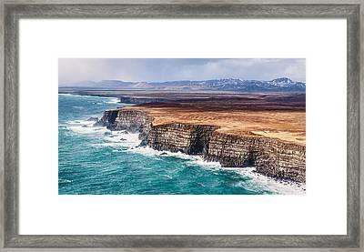 Icelandic Coast - Iceland Aerial Photograph Framed Print by Duane Miller
